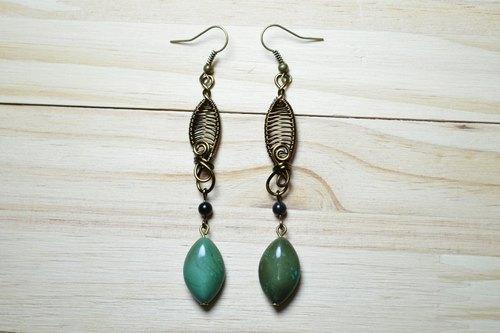 手工编织新疆绿松石耳环-手工/金属线/天然石/铜线