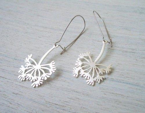 以色列设计师手工饰品 盛放的蒲公英耳钩式耳环(金,银两色)