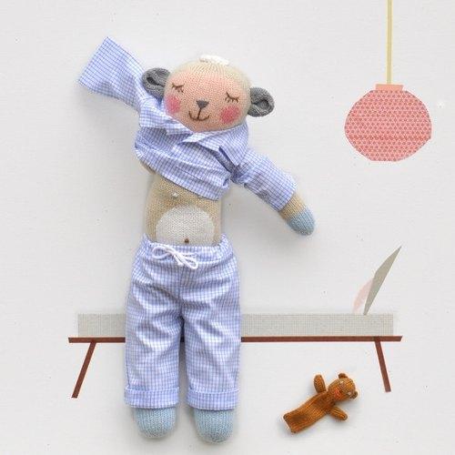 美國 Blabla Kids | 針織娃娃服裝/變身裝 - 睡衣派對 藍色款 B21054900