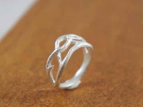 【若子有机银饰】自然树枝纯银戒指 /纯银/项链/戒指/礼物/情人节