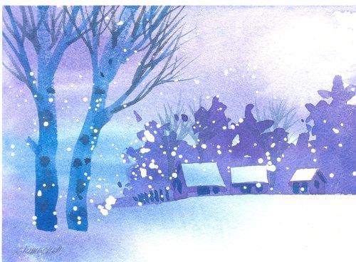 「疗愈系树林系列1-116」水彩手绘限量版明信片/圣诞