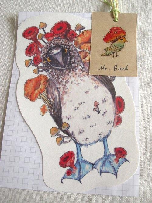 藍腳鰹鳥 鳥兒 動物 異形明信片