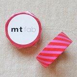 mt 和紙膠帶 fab 植絨系列【斜紋款 粉紅+紅(MTFL1P15)】