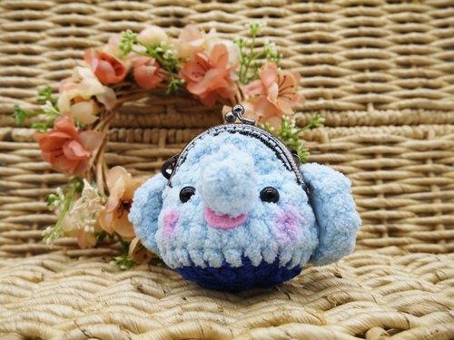 毛线编织动物零钱包 mini口金包-大耳朵大象