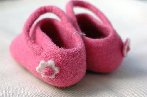 羊毛氈室內鞋Pink Flower-彌月禮 嬰兒鞋 童鞋