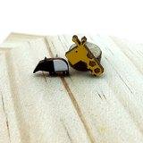 馬來貘 長頸鹿 綜合組(各一) 平貼耳針/舒適夾式 可愛 飾品 創意 手作設計 耳釘 耳環 木頭 原木 檜木