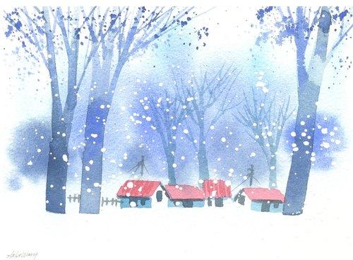 """新年贺卡""""疗愈系树林系列1-128""""水彩手绘限量版明信片/贺卡"""