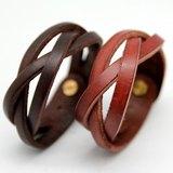 限定色彩-編織皮革手環 / 2cm三股編