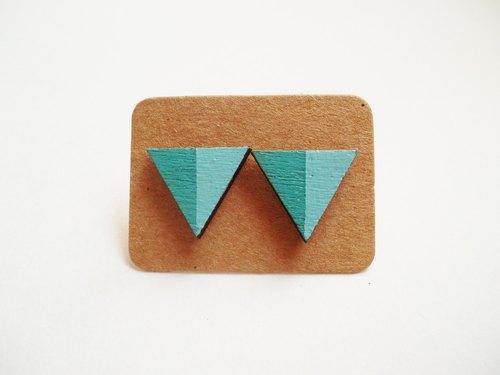 手绘彩色块木制三角耳环 - 猪猪阿占 | pinkoi