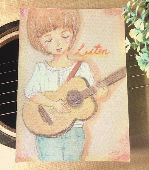 手绘明信片/吉他少女