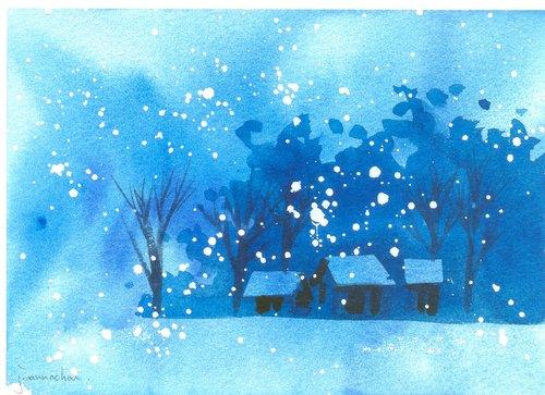 """圣诞卡片""""疗愈系树林系列1-83""""水彩手绘限量版明信片/贺卡"""