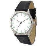 簡約手錶(白面綠色粗條紋)