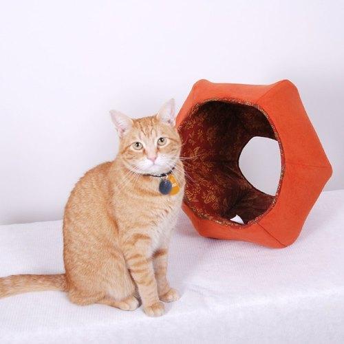 美国纯手工制作的爱钻洞猫咪好物<猫球> (大橘大利)