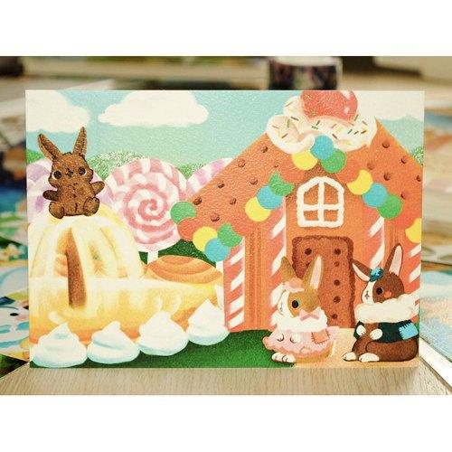 小兔童話明信片*糖果屋的焦糖奶茶