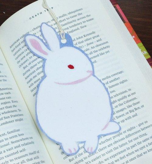 兔子 书签 丙烯 手绘