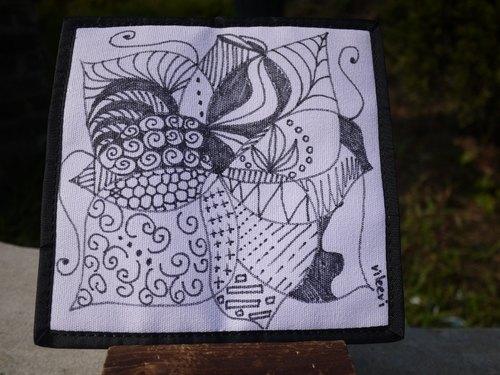 手绘禅绕画长皮夹