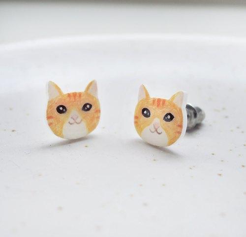 小橘猫耳环 抗敏钢针 橘猫