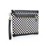 Graphic Textile mix Leather Clutch Bag│Chessboard I