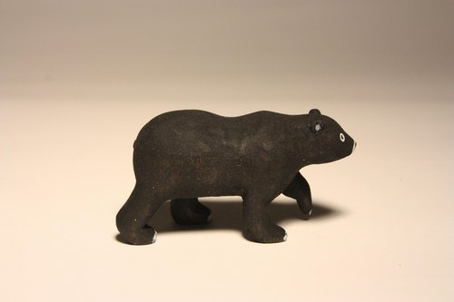 疗愈系木雕小动物_黑熊black
