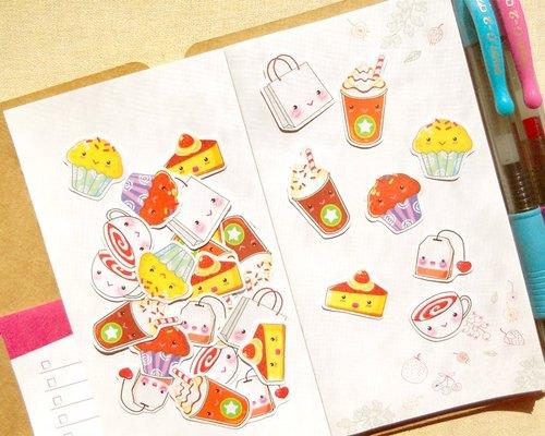 下午茶贴纸 - 手帐贴纸系列30入 - 点心/杯子蛋糕