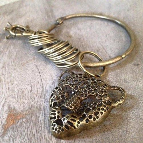 鑰匙圈/仿舊復古守門人大鑰匙圈-簍空兇猛豹子頭