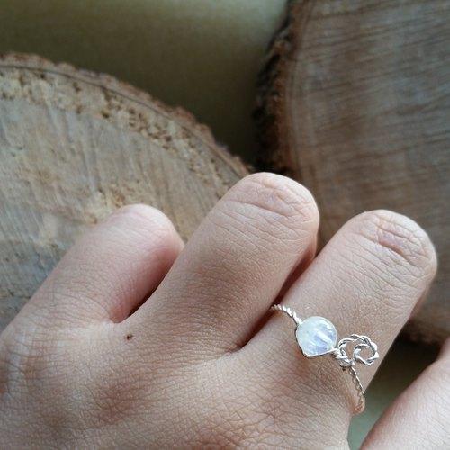 月光石/月亮石 鍍銀戒指