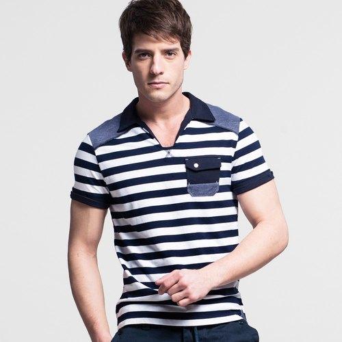 男款小翻領條紋POLO衫-藍白條 NOVI