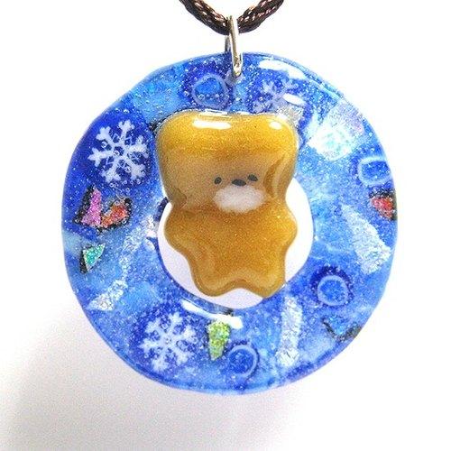 藍色雪花耶誕花圈+軟糖小熊 琉璃長項鍊(限量一件)