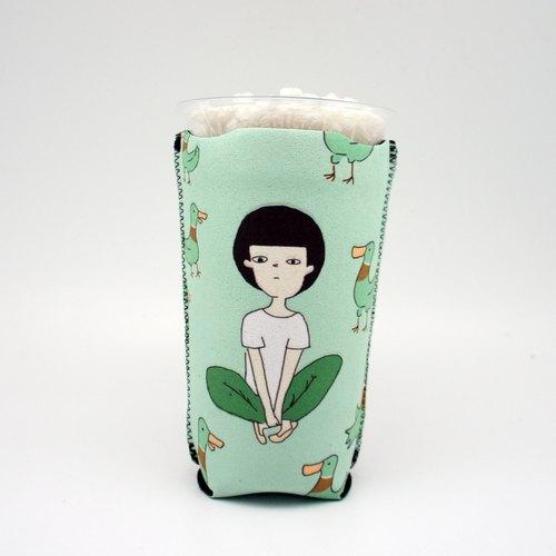 BLR 保冰吸水 杯套 一天一怪獸 綠雁鴨 杯套 適用市售飲料杯 畢業禮物