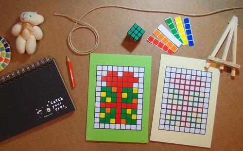 兒童節禮物-方塊拼貼畫DIY材料包-教育益智 兒童玩具(附小畫架)