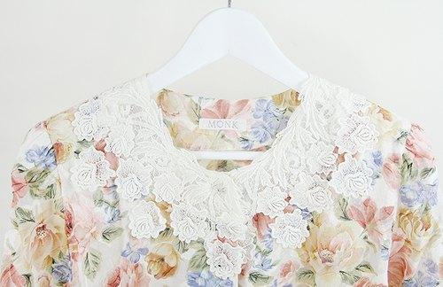 蕾丝刺绣森林系水彩油画花卉衬衫 - 复古衬衫花朵系列
