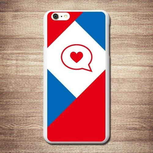 英伦风 - 红白蓝 已读的爱心,3d浮雕手机壳 / 礼物(黑白壳/透明) 悠游