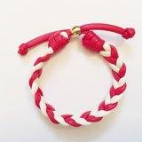 「紅白雙色麻花仿皮繩」