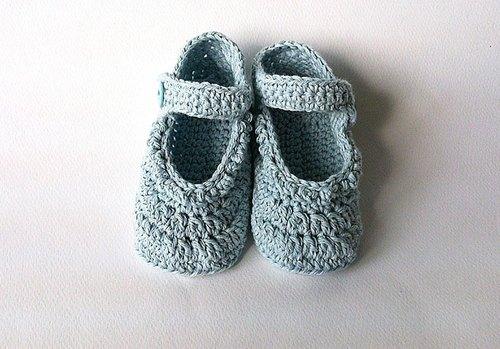 女宝宝弥月礼 蓝色花边钩织娃娃鞋 婴儿鞋