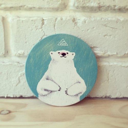大白熊 吸水杯墊 / 鶯歌陶瓷杯墊