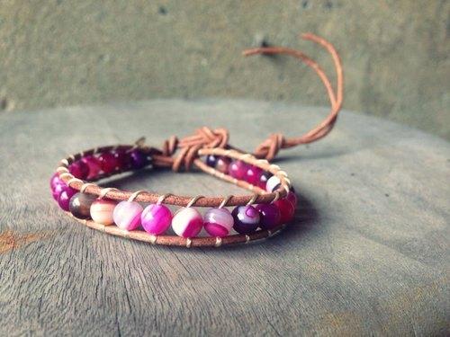 CHM纏繞式手環-單圈-梅紫紅透光玻璃瑪瑙