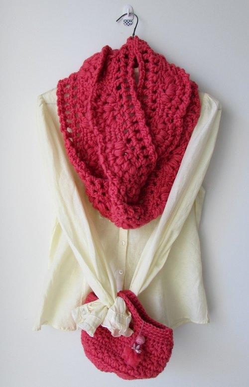寒冬的蕾丝樱花-纯羊毛手工钩织圈圈围巾 托特包