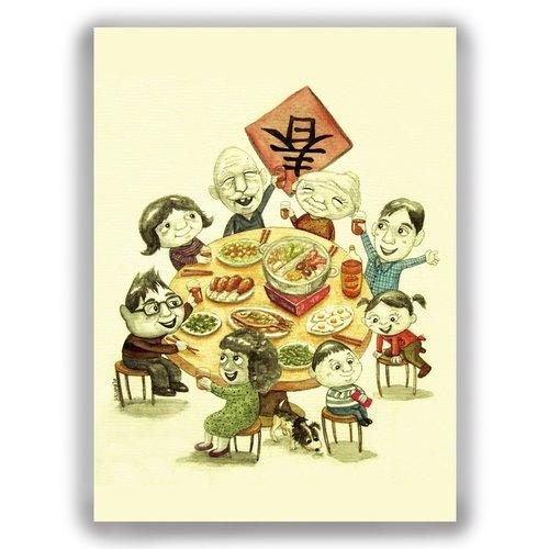 手绘插画万用卡贺年卡/明信片/卡片/插画卡--年夜饭 围炉 团圆饭 新年