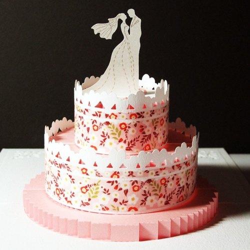立体纸雕结婚卡片-婚礼蛋糕