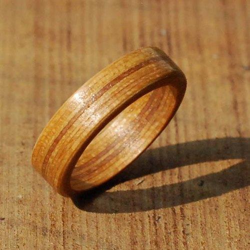柚木条纹圆形木头戒指 (订制)手工订制 防小人尾戒 / 情人对戒