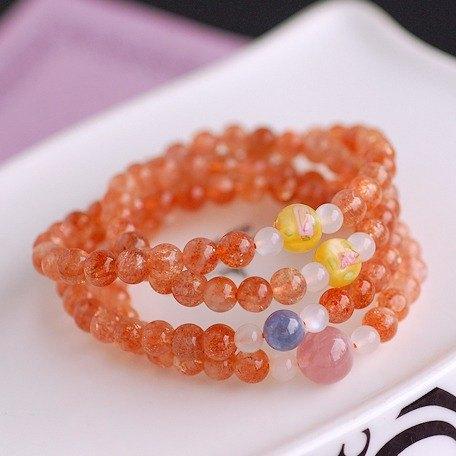 :::*CaWaiiDaisy*:::手創天然石飾品-馬島粉晶*丹泉石*金草莓晶108顆念珠項鍊