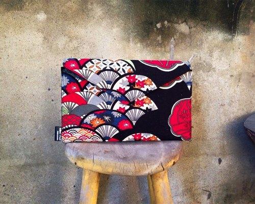 【手拿包/側揹包/信封包Dream Bag-日式浴衣扇子-紅款】