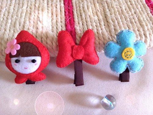 不织布~发夹3件组~q娃.米妮蝴蝶结.花花夹