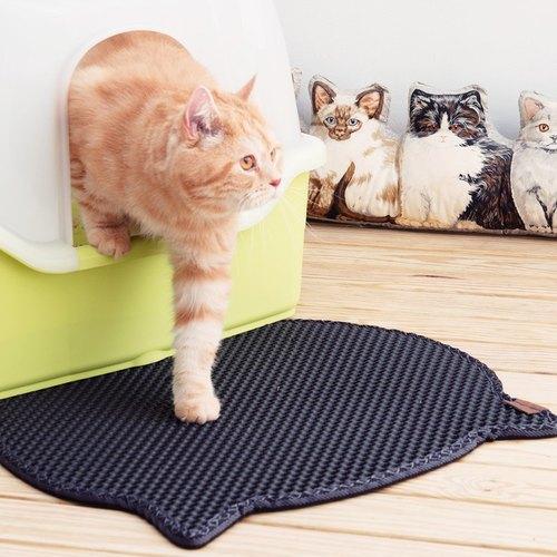 【韓國Blackhole Cat Litter Mat®】榮獲美國專利 落貓砂墊 - 可愛貓咪(黑色)
