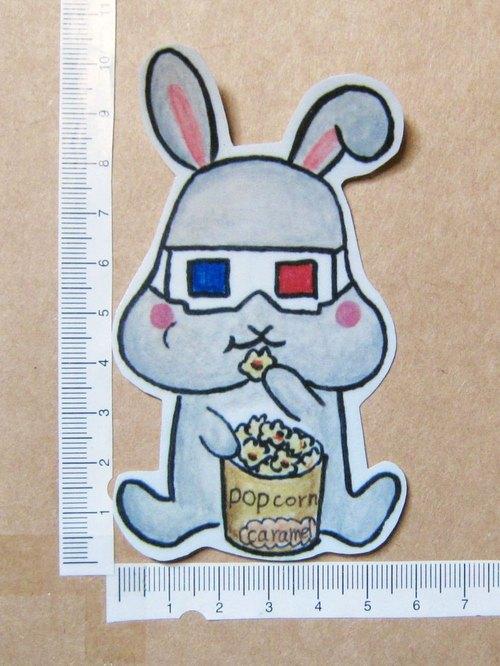 手繪插畫風格 完全防水貼紙 小灰兔 兔子 看3D電影吃爆米花
