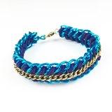 麂皮繩藍 x 螢光鋁鍊