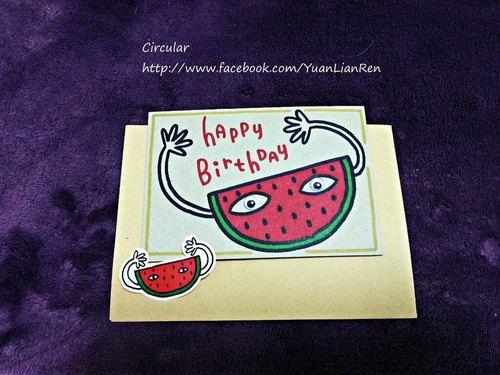 西瓜人-生日快乐 手绘卡片贴纸组