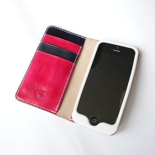5手縫皮件│Iphone5 wallet cover 手機套 可掀式 適用I5 I5s