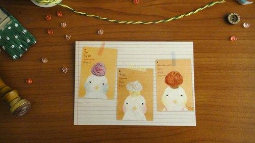 點心夥伴的每個人,香草杯子蛋糕,可可瑪芬,芋頭酥 甜點鳥兒 明信片/卡片