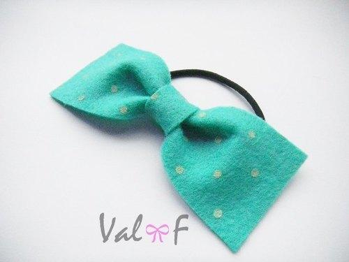 Val‧F for kids 髮飾  蝴蝶結  藍綠色  橡皮筋  手創設計  點點水玉